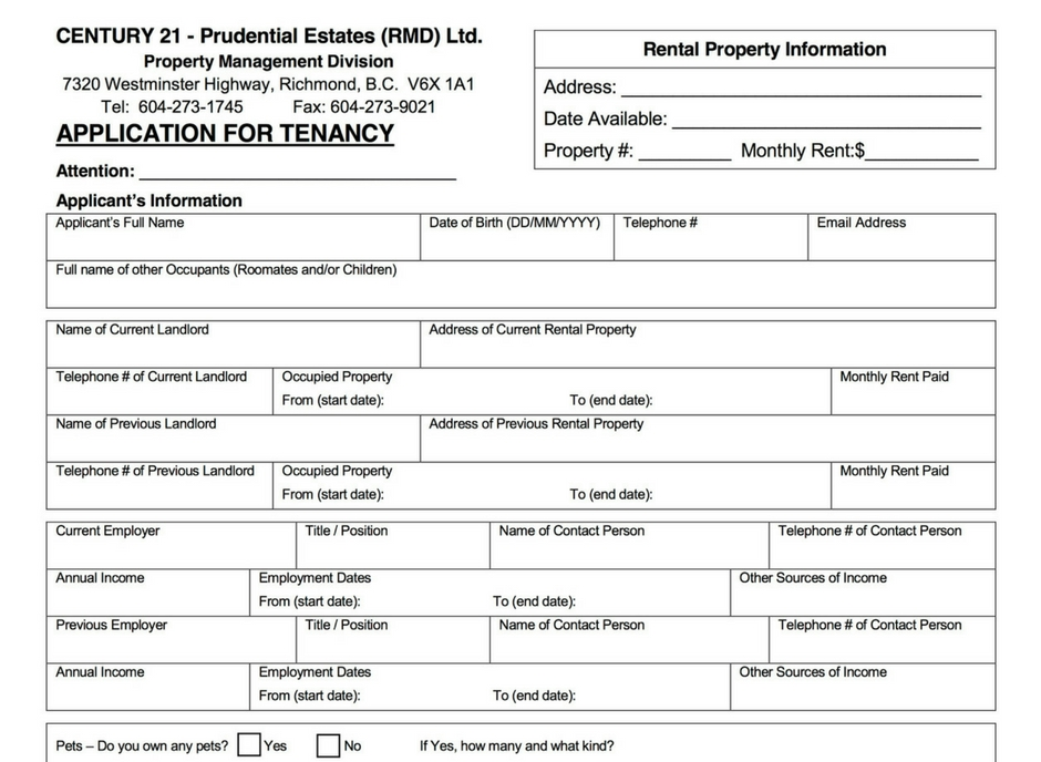 rental forms documents century 21 prudential estates richmond bc